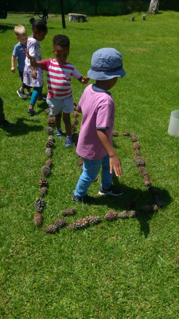 nature activities, pine cone maze